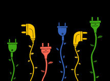 Energia verde Tomada elétrica com as folhas no preto ilustração stock