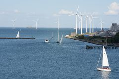Energias eólicas Copenhaga Dinamarca Foto de Stock