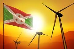 Energias eólicas de Burundi, conceito do ambiente da energia alternativa com turbinas eólicas e bandeira na ilustração industrial imagem de stock royalty free