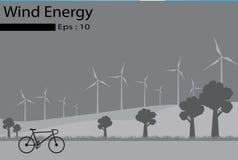 Energias eólicas, geradores de vento Imagens de Stock