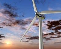 Energias eólicas no nascer do sol Imagens de Stock