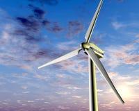 Energias eólicas no por do sol ilustração stock