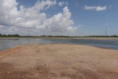 Energias eólicas no Rio Grande do Norte, Brasil fotografia de stock royalty free