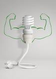 Energibegrepp, ecolampa med ledningsnät och händer på grå färger Royaltyfria Foton