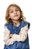 Energic little girl portrait folded hands Royalty Free Stock Images