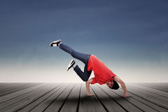 Energic man dancing outdoor Royalty Free Stock Images
