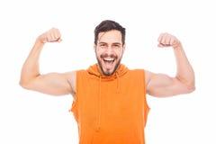 Energic man med muskler Arkivfoto