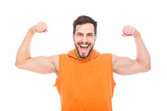 Energic man with muscles Stock Photo