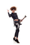 Energic woman playing guitar Royalty Free Stock Image