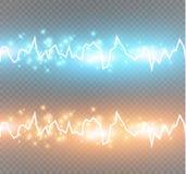 Energichockeffekt med många glödande partiklar Elektrisk urladdning på genomskinlig bakgrund Royaltyfria Bilder