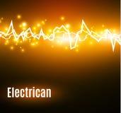 Energichockeffekt med många glödande partiklar Elektrisk urladdning på gul bakgrund Arkivbild