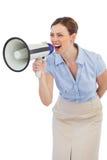 Energiczny bizneswoman z megafonem obraz royalty free