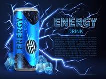 Energidrinken kan omgivet av elektriska urladdningar och gnistor på mörker - blått Förpackande advertizingvektorbakgrund royaltyfri illustrationer
