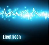 Energieüberraschungseffekt mit vielen glühenden Partikeln Elektrische Entladung auf blauem Hintergrund Stockfotos