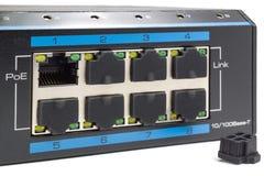 Energie über Ethernet-Schalter auf einem weißen Hintergrund Stockbild