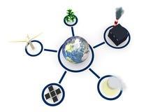 Energie: Aarde door Diverse Vormen van Macht wordt omringd die Stock Foto's