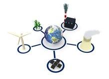 Energie: Aarde door Diverse Vormen van Macht wordt omringd die Stock Afbeeldingen