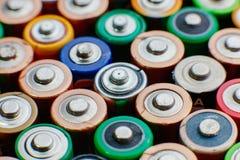 Energie abstracte achtergrond van kleurrijke batterijen Royalty-vrije Stock Foto