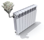 Energie - besparingenconcept met radiator, trechter en geld Royalty-vrije Stock Fotografie