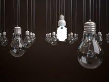 Energie - besparings gloeilamp. Stock Afbeeldingen
