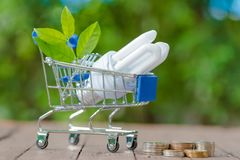 Energie - besparings LEIDENE BOL ECO met het milieu royalty-vrije stock foto