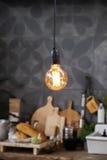 Energie - besparingslamp in huiskeuken Royalty-vrije Stock Foto