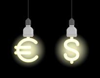 Energie - besparingslampen in vorm van euro teken en dollarteken Royalty-vrije Stock Foto's