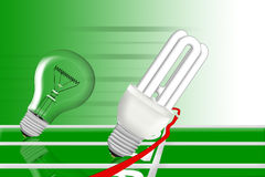 Energie - de besparingsbol is winng het ras. Stock Afbeelding