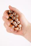 Energie der Batterien in einer Hand Stockfoto