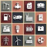 Energie, elektriciteit, geplaatste machts vectorpictogrammen Stock Afbeelding