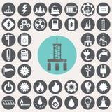 Energie en de industrie geplaatste pictogrammen Stock Foto