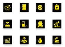 Energie en de industrie geplaatste pictogrammen Stock Afbeelding