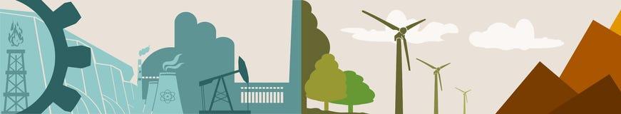 Energie en Machts de banner van de pictogrammenecologie Stock Foto