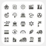 Energie en Machts geplaatste pictogrammen Royalty-vrije Stock Foto