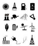 Energie en Machts geplaatste pictogrammen Stock Foto's