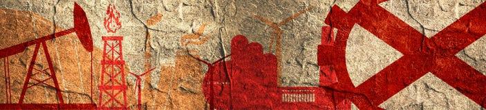 Energie en Machts geplaatste pictogrammen Kopbalbanner met de vlag van Alabama Stock Foto