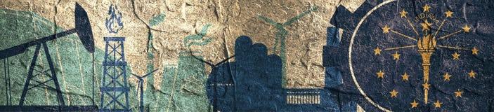 Energie en Machts geplaatste pictogrammen Kopbalbanner met de vlag van Indiana Royalty-vrije Stock Afbeeldingen