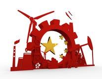 Energie en Machtspictogrammen die met de vlagelement van China worden geplaatst Stock Afbeeldingen