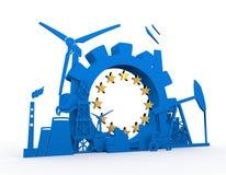 Energie en Machtspictogrammen die met de vlagelement van Europa worden geplaatst Stock Foto's