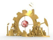 Energie en Machtspictogrammen met aardebol die worden geplaatst Stock Foto's