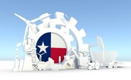 Energie en Machtspictogrammen met de vlag die van Texas worden geplaatst Royalty-vrije Stock Foto's