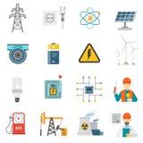 Energie-Energie-flache Ikonen eingestellt lizenzfreie abbildung