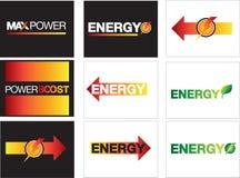 Energie-, Energie- und Maximumenergiesymbole Stockfotos