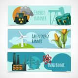 Energie-Fahnen-Satz Stockfotos