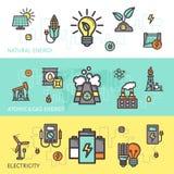 Energie-Fahnen-Satz Lizenzfreies Stockfoto