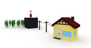 Energie: Huis door Fossiele brandstoffen wordt aangedreven die Royalty-vrije Stock Foto's
