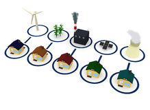 Energie: Huizen door Diverse Energiebronnen worden aangedreven die Stock Afbeeldingen
