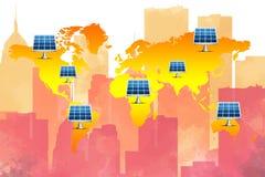Energie-konservatives Konzept: Viel Solarzelle, die auf Weltkarte mit Aquarellskylinehintergrund steht Lizenzfreies Stockfoto