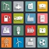 Energie, Strom, flache Ikone des Energievektors stellte mit Schatten ein Lizenzfreies Stockfoto