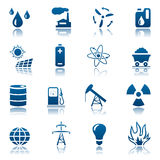 Energie- u. Hilfsmittelikonenset Stockfoto